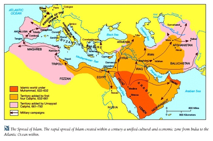 Islamic Conquests in the few centuries after Muhammad