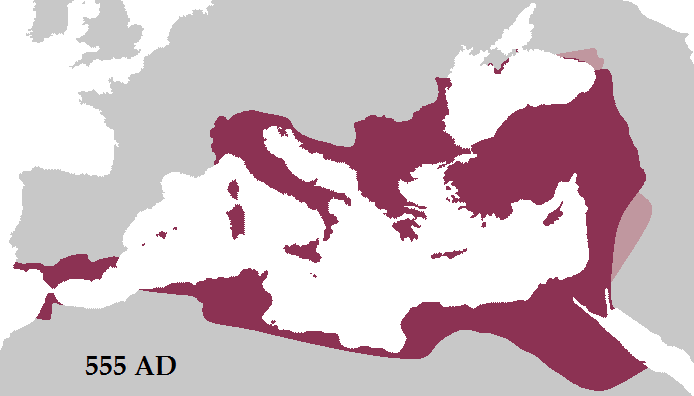 The (Eastern) Roman Empire at its greatest extent under Justinian I, in 555 AD