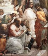 Pythagoras, the man in the center with the book, teaching music, in Raphael's The School of Athens (1509)