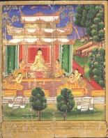 Gautama Buddha surrounded by followers, from an 18th-century Burmese watercolour